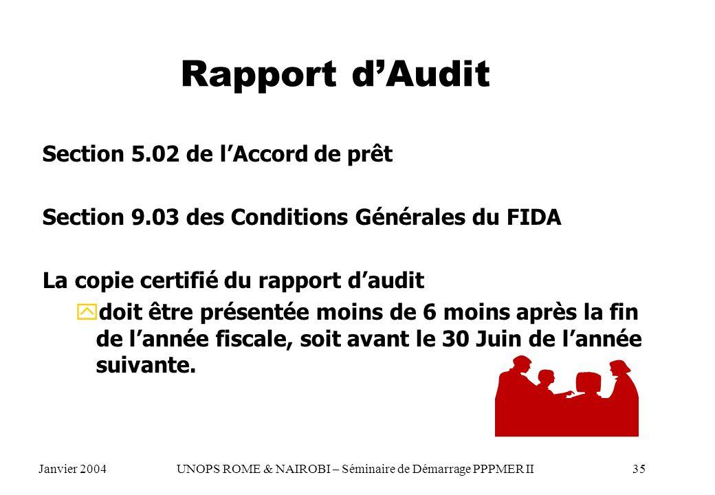 Rapport dAudit Section 5.02 de lAccord de prêt Section 9.03 des Conditions Générales du FIDA La copie certifié du rapport daudit ydoit être présentée