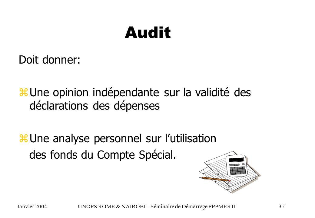 Audit Doit donner: zUne opinion indépendante sur la validité des déclarations des dépenses zUne analyse personnel sur lutilisation des fonds du Compte