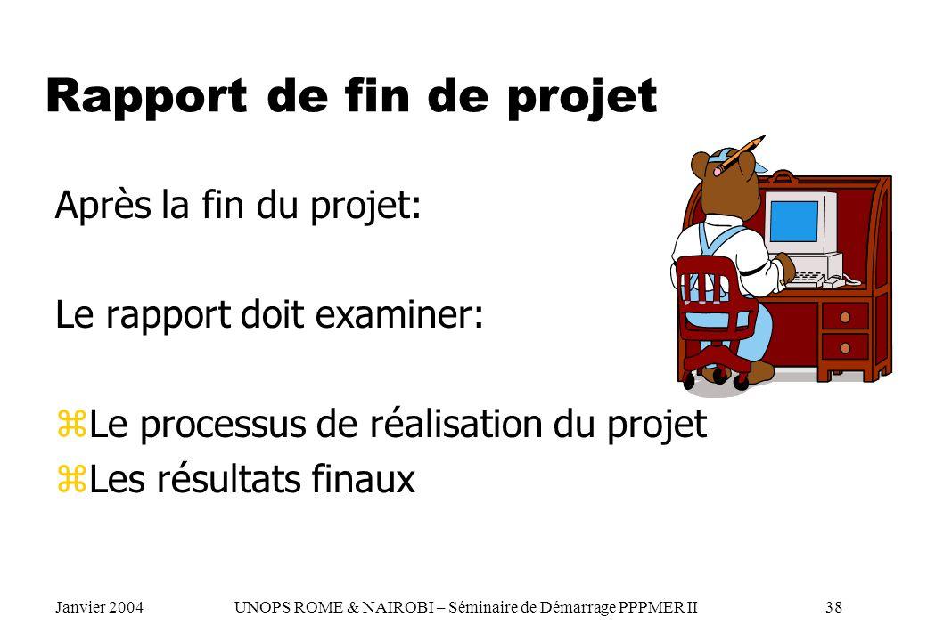 Rapport de fin de projet Après la fin du projet: Le rapport doit examiner: zLe processus de réalisation du projet zLes résultats finaux Janvier 2004 U