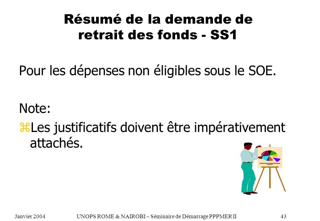 Résumé de la demande de retrait des fonds - SS1 Pour les dépenses non éligibles sous le SOE. Note: zLes justificatifs doivent être impérativement atta