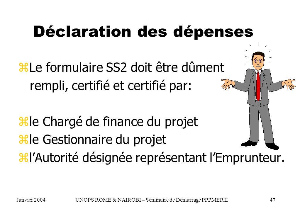 Déclaration des dépenses zLe formulaire SS2 doit être dûment rempli, certifié et certifié par: zle Chargé de finance du projet zle Gestionnaire du pro