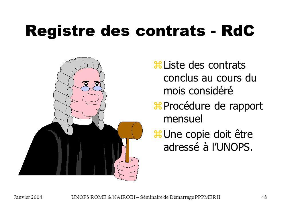 Registre des contrats - RdC z Liste des contrats conclus au cours du mois considéré z Procédure de rapport mensuel z Une copie doit être adressé à lUN