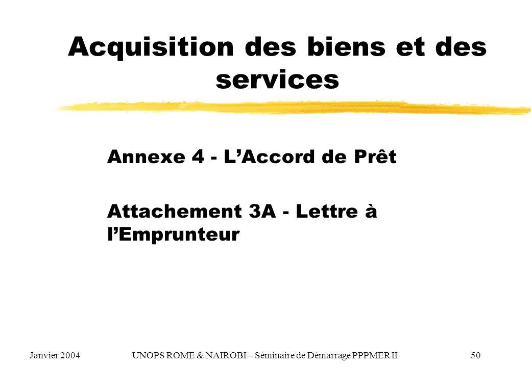 Acquisition des biens et des services Annexe 4 - LAccord de Prêt Attachement 3A - Lettre à lEmprunteur Janvier 2004 UNOPS ROME & NAIROBI – Séminaire d