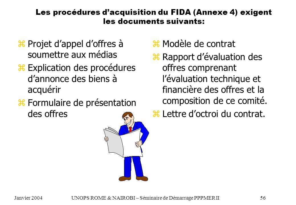 Les procédures dacquisition du FIDA (Annexe 4) exigent les documents suivants: zProjet dappel doffres à soumettre aux médias zExplication des procédur