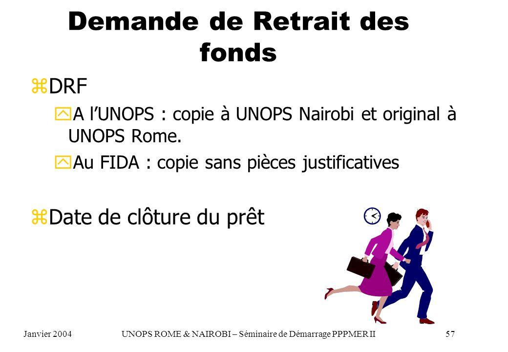 Demande de Retrait des fonds zDRF yA lUNOPS : copie à UNOPS Nairobi et original à UNOPS Rome. yAu FIDA : copie sans pièces justificatives zDate de clô