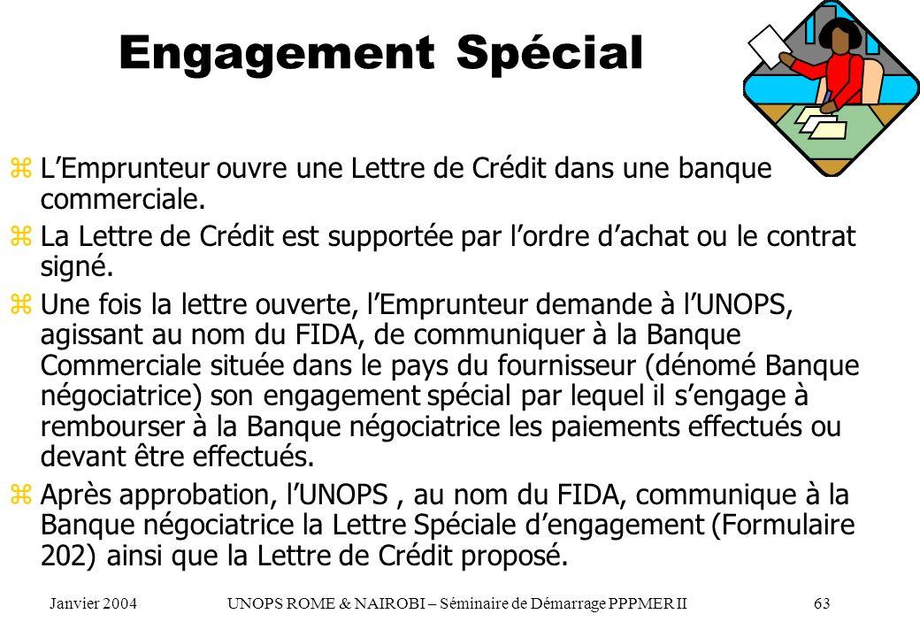 Engagement Spécial zLEmprunteur ouvre une Lettre de Crédit dans une banque commerciale. zLa Lettre de Crédit est supportée par lordre dachat ou le con