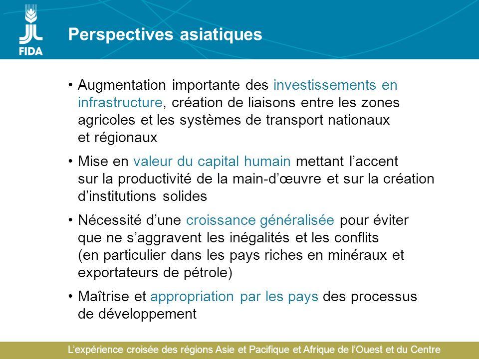 Lexpérience croisée des régions Asie et Pacifique et Afrique de lOuest et du Centre Perspectives asiatiques Augmentation importante des investissement