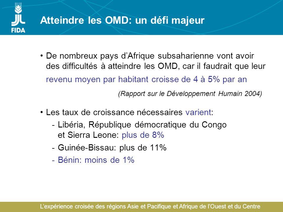 Lexpérience croisée des régions Asie et Pacifique et Afrique de lOuest et du Centre Atteindre les OMD: un défi majeur De nombreux pays dAfrique subsaharienne vont avoir des difficultés à atteindre les OMD, car il faudrait que leur revenu moyen par habitant croisse de 4 à 5% par an (Rapport sur le Développement Humain 2004) Les taux de croissance nécessaires varient: -Libéria, République démocratique du Congo et Sierra Leone: plus de 8% -Guinée-Bissau: plus de 11% -Bénin: moins de 1%