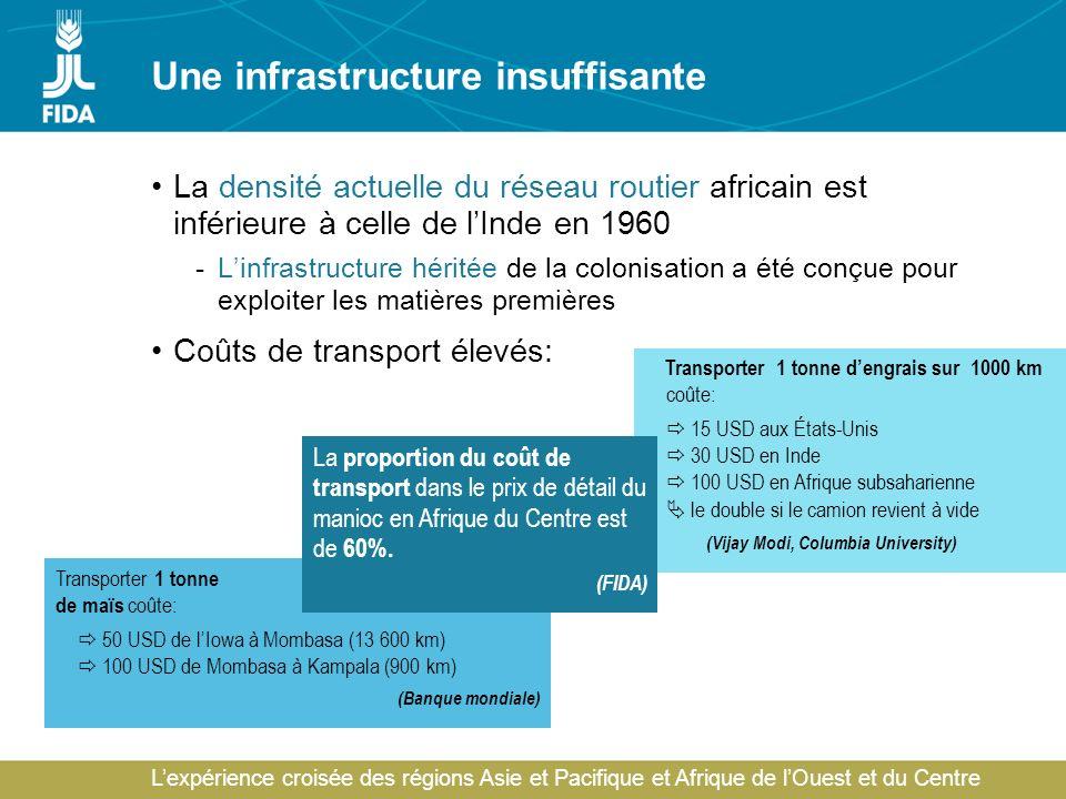 Lexpérience croisée des régions Asie et Pacifique et Afrique de lOuest et du Centre Une infrastructure insuffisante La densité actuelle du réseau rout