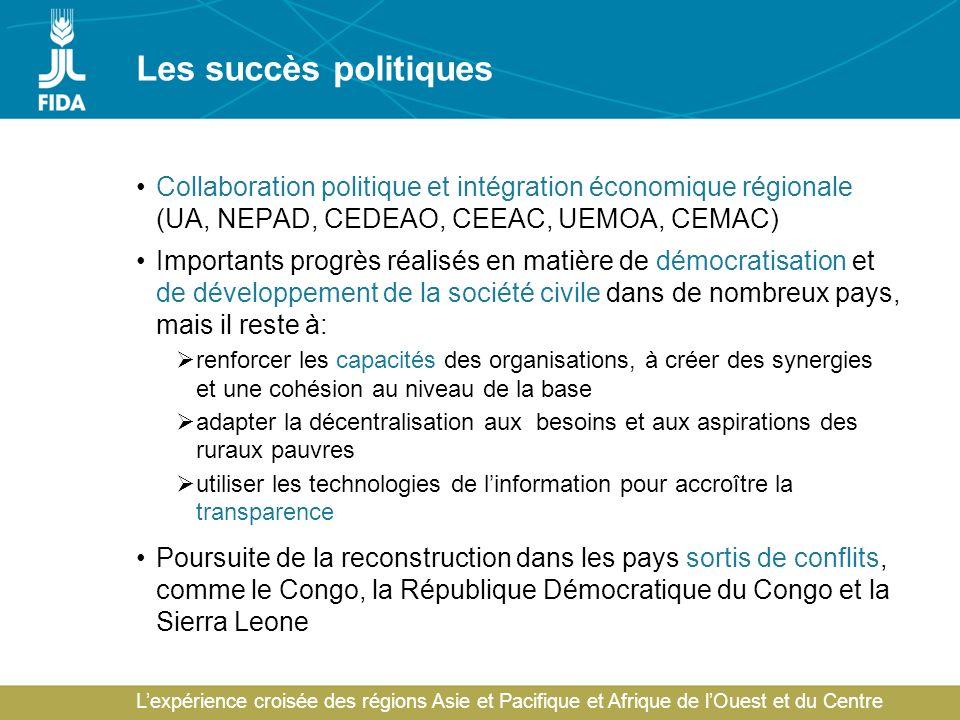 Lexpérience croisée des régions Asie et Pacifique et Afrique de lOuest et du Centre Les succès politiques Collaboration politique et intégration économique régionale (UA, NEPAD, CEDEAO, CEEAC, UEMOA, CEMAC) Importants progrès réalisés en matière de démocratisation et de développement de la société civile dans de nombreux pays, mais il reste à: renforcer les capacités des organisations, à créer des synergies et une cohésion au niveau de la base adapter la décentralisation aux besoins et aux aspirations des ruraux pauvres utiliser les technologies de linformation pour accroître la transparence Poursuite de la reconstruction dans les pays sortis de conflits, comme le Congo, la République Démocratique du Congo et la Sierra Leone