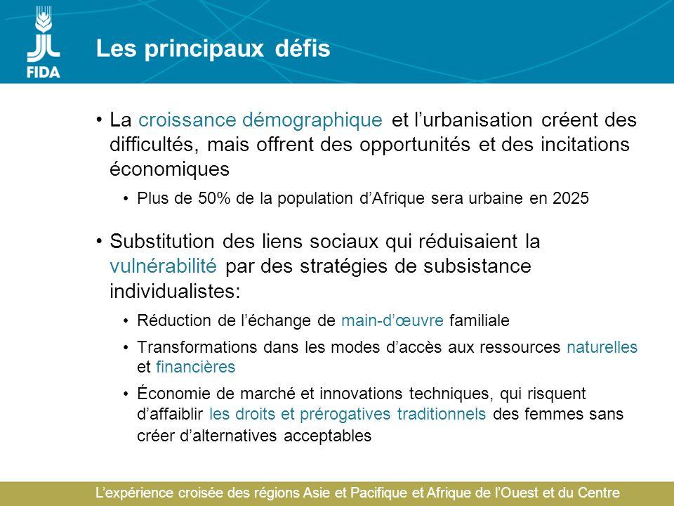 Lexpérience croisée des régions Asie et Pacifique et Afrique de lOuest et du Centre Les principaux défis La croissance démographique et lurbanisation
