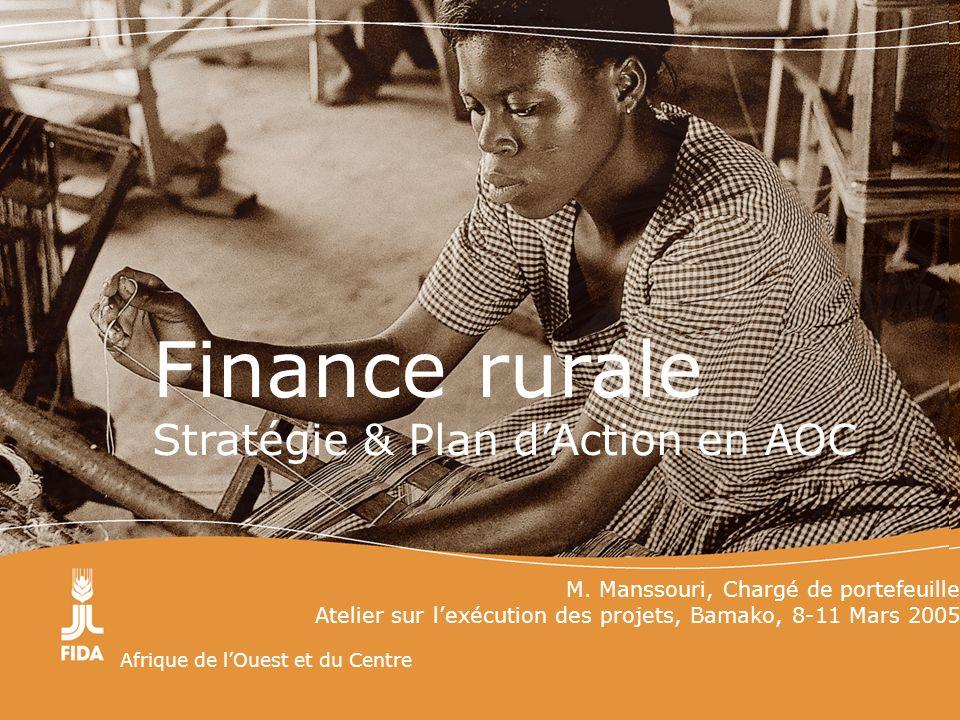 Afrique de lOuest et du Centre Finance rurale Stratégie & Plan dAction en AOC M. Manssouri, Chargé de portefeuille Atelier sur lexécution des projets,