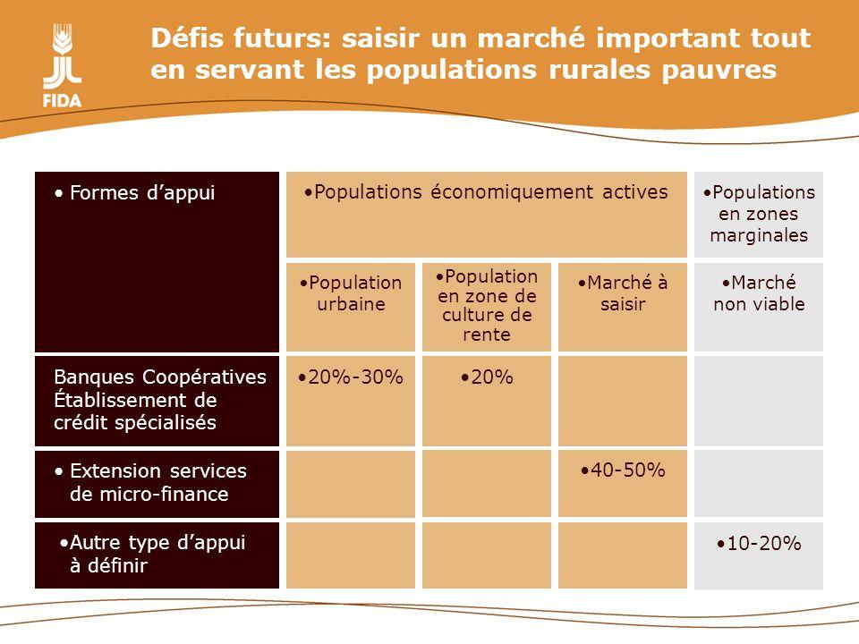 Défis futurs: saisir un marché important tout en servant les populations rurales pauvres 10-20% Autre type dappui à définir 40-50% Extension services