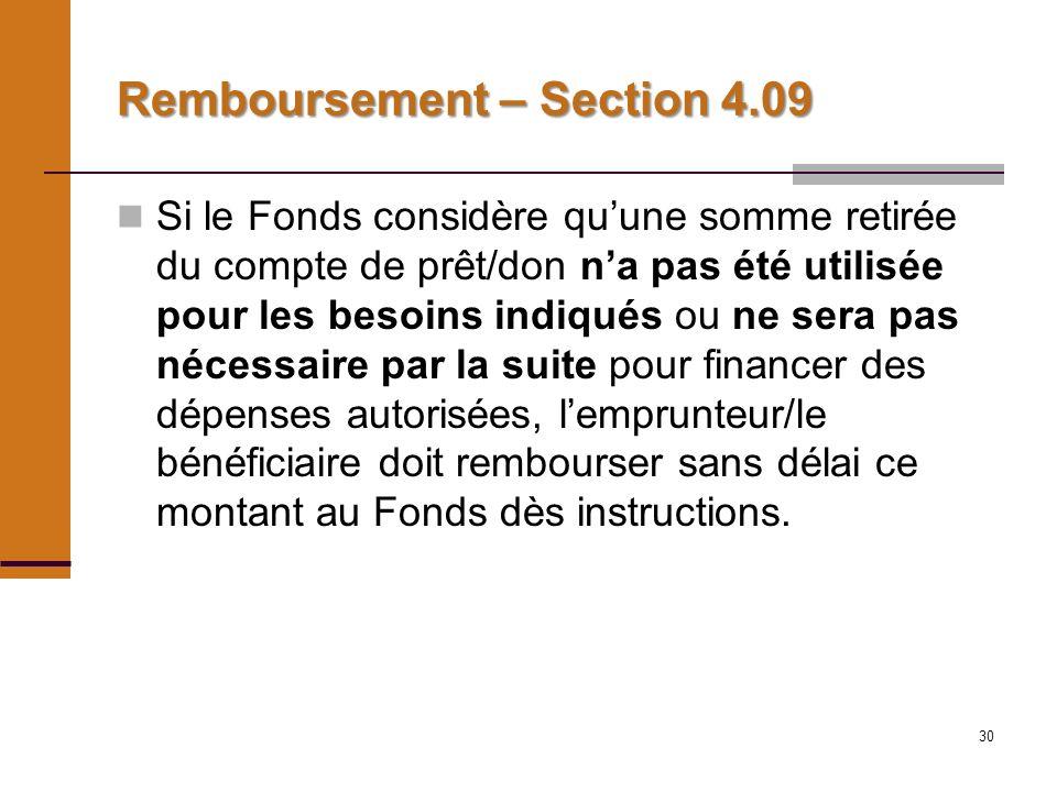 30 Remboursement – Section 4.09 Si le Fonds considère quune somme retirée du compte de prêt/don na pas été utilisée pour les besoins indiqués ou ne sera pas nécessaire par la suite pour financer des dépenses autorisées, lemprunteur/le bénéficiaire doit rembourser sans délai ce montant au Fonds dès instructions.