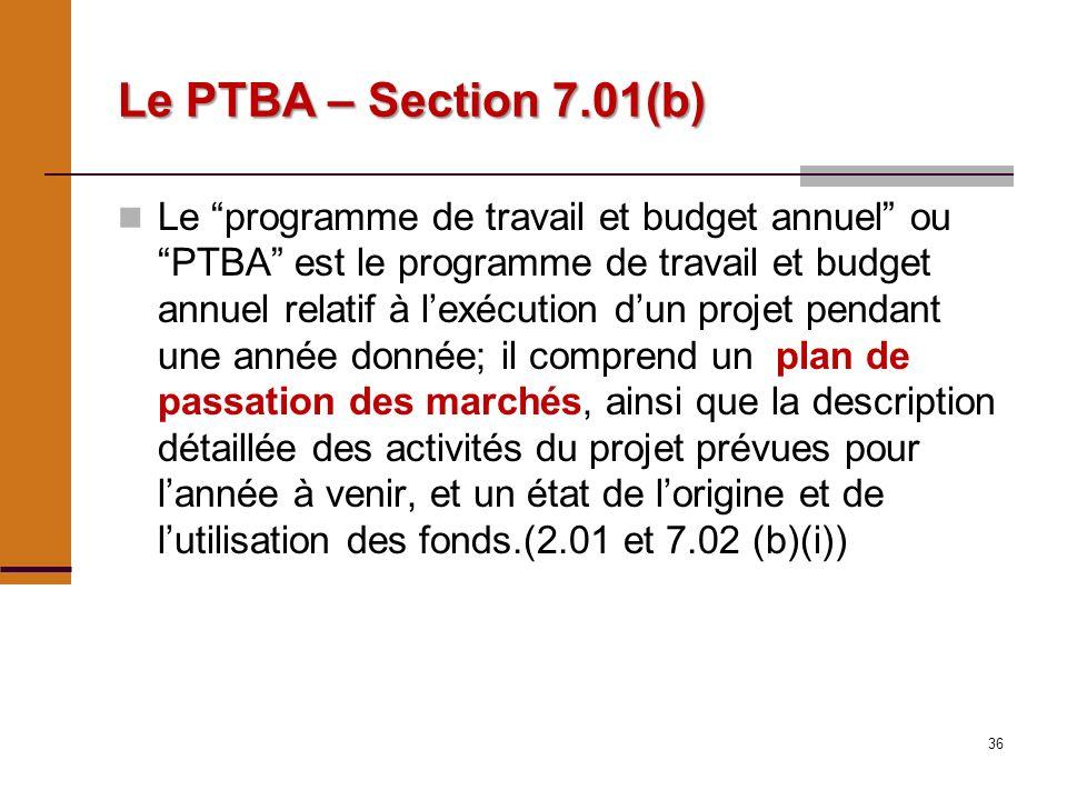 36 Le PTBA – Section 7.01(b) Le programme de travail et budget annuel ou PTBA est le programme de travail et budget annuel relatif à lexécution dun projet pendant une année donnée; il comprend un plan de passation des marchés, ainsi que la description détaillée des activités du projet prévues pour lannée à venir, et un état de lorigine et de lutilisation des fonds.(2.01 et 7.02 (b)(i))