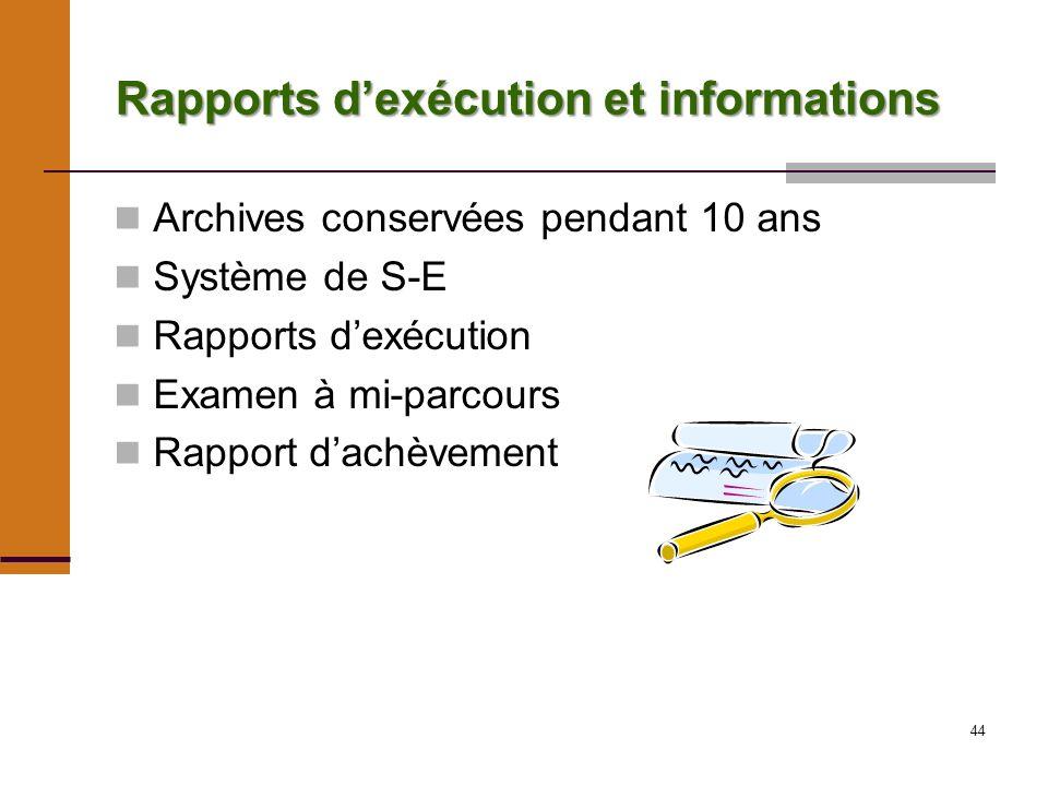 44 Rapports dexécution et informations Archives conservées pendant 10 ans Système de S-E Rapports dexécution Examen à mi-parcours Rapport dachèvement
