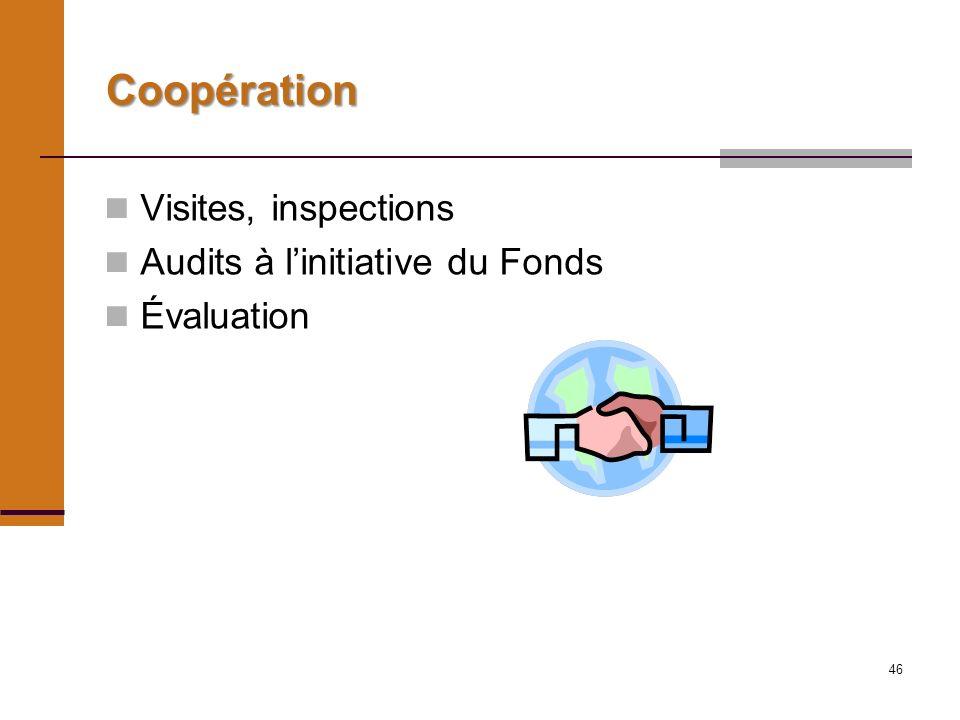 46 Coopération Visites, inspections Audits à linitiative du Fonds Évaluation