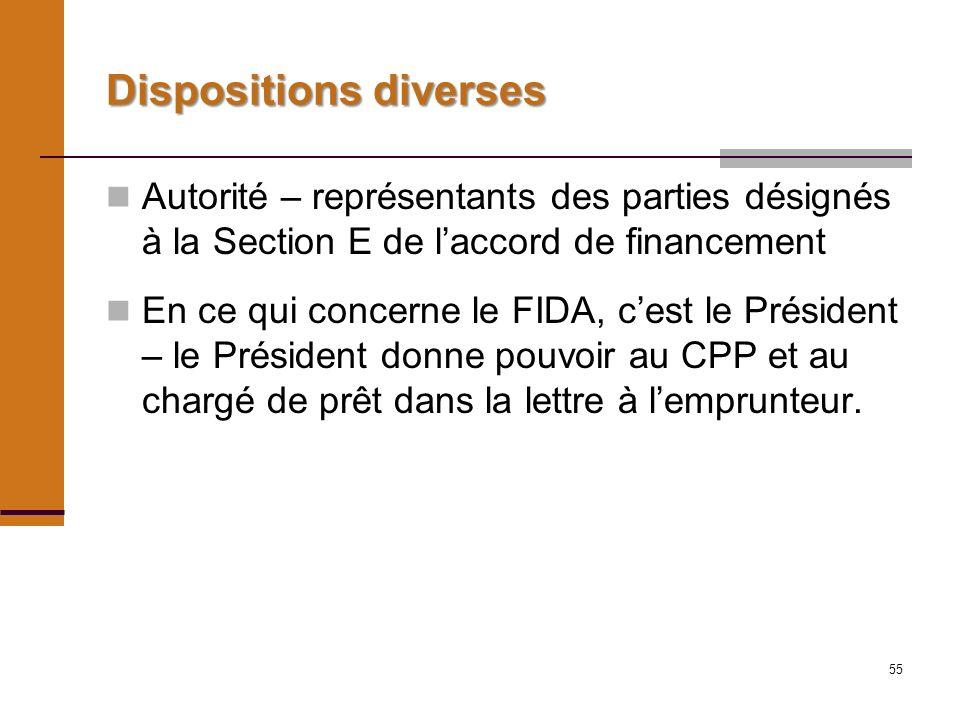 55 Dispositions diverses Autorité – représentants des parties désignés à la Section E de laccord de financement En ce qui concerne le FIDA, cest le Président – le Président donne pouvoir au CPP et au chargé de prêt dans la lettre à lemprunteur.