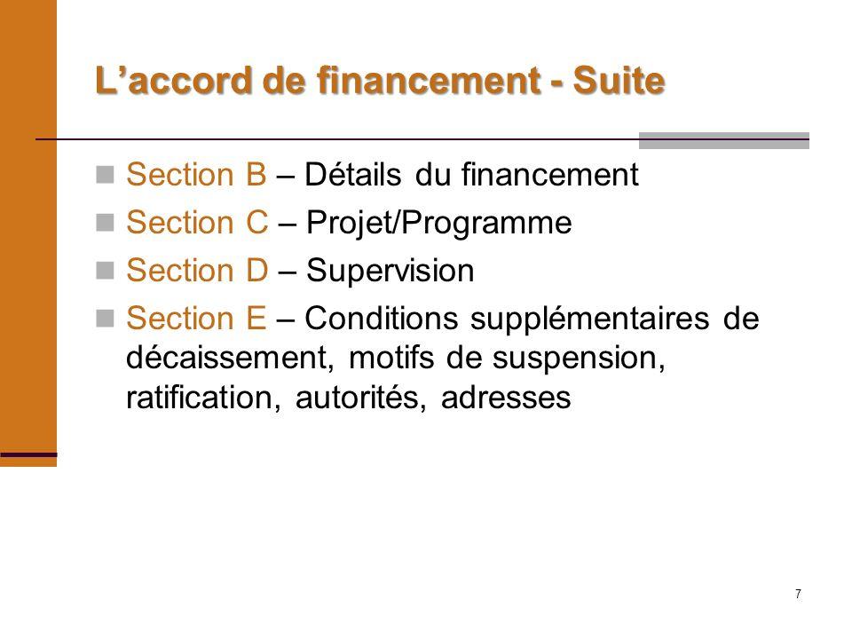 7 Laccord de financement - Suite Section B – Détails du financement Section C – Projet/Programme Section D – Supervision Section E – Conditions supplémentaires de décaissement, motifs de suspension, ratification, autorités, adresses