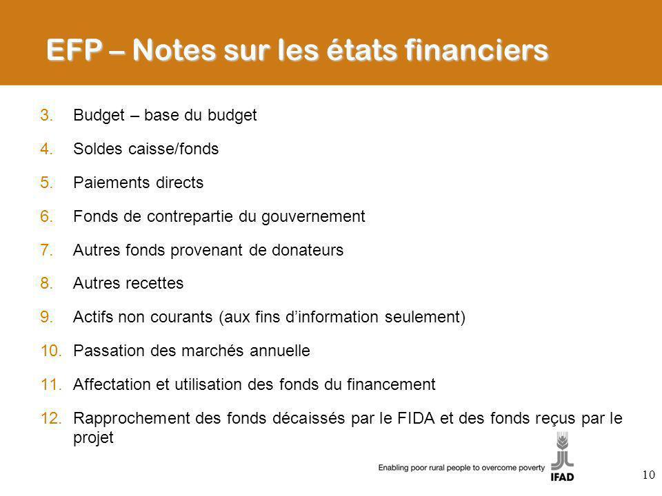 3.Budget – base du budget 4.Soldes caisse/fonds 5.Paiements directs 6.Fonds de contrepartie du gouvernement 7.Autres fonds provenant de donateurs 8.Au