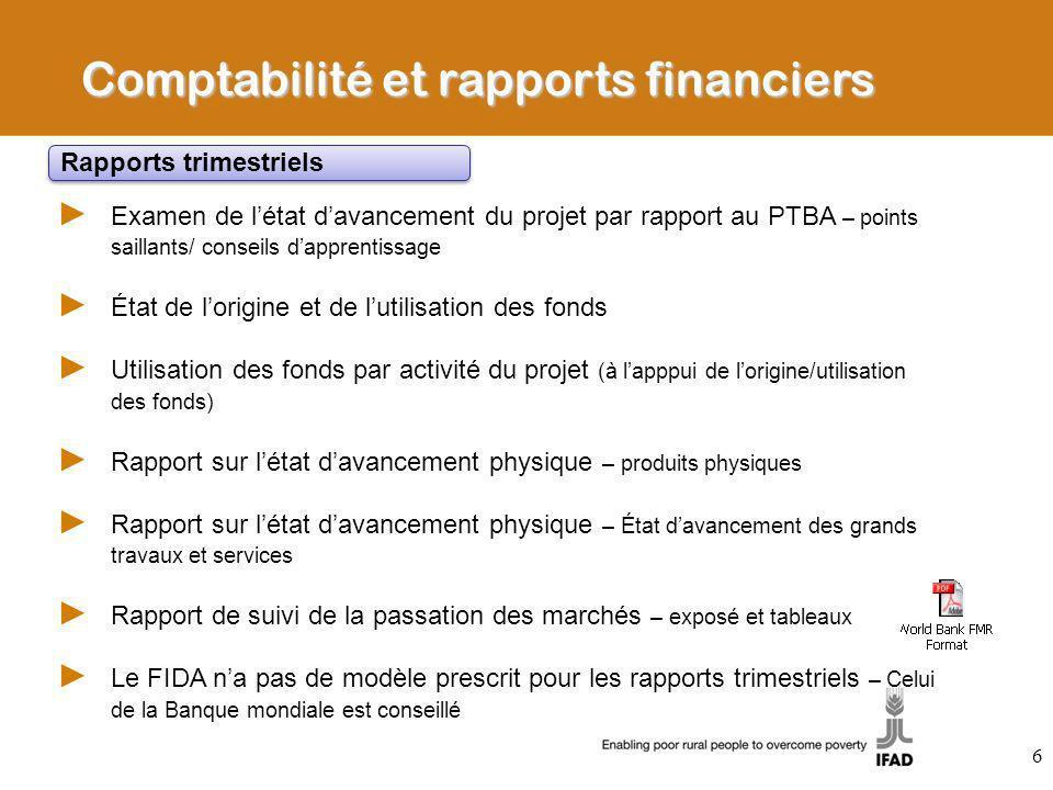 Comptabilité et rapports financiers Examen de létat davancement du projet par rapport au PTBA – points saillants/ conseils dapprentissage État de lori