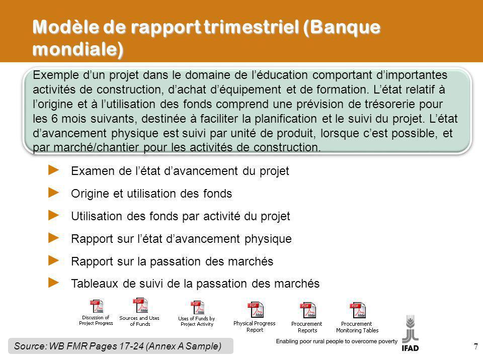 7 Exemple dun projet dans le domaine de léducation comportant dimportantes activités de construction, dachat déquipement et de formation. Létat relati