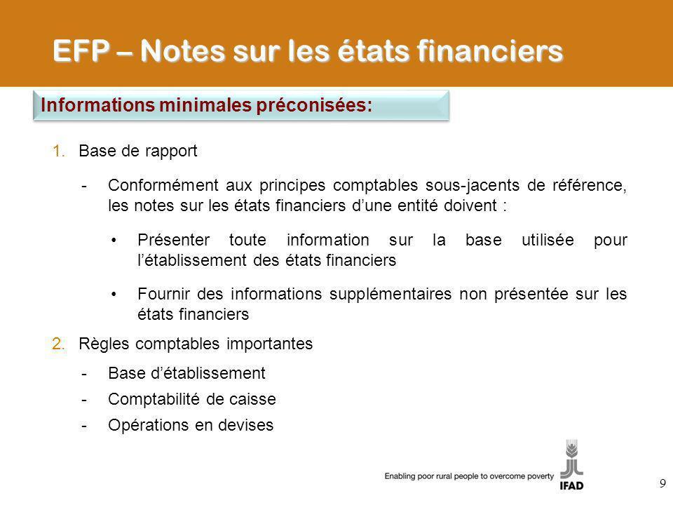 1.Base de rapport -Conformément aux principes comptables sous-jacents de référence, les notes sur les états financiers dune entité doivent : Présenter