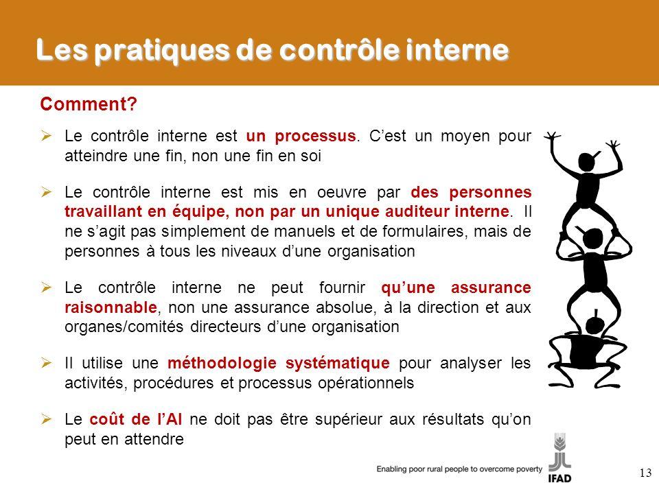 Les pratiques de contrôle interne Comment? Le contrôle interne est un processus. Cest un moyen pour atteindre une fin, non une fin en soi Le contrôle