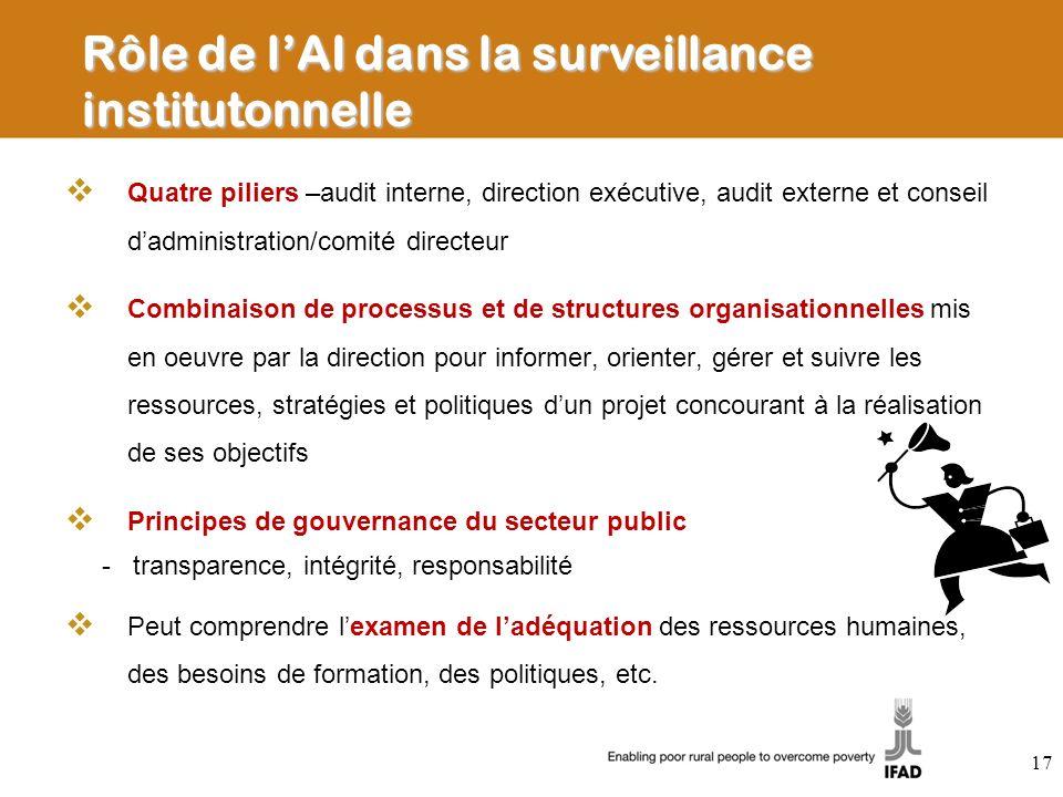 Rôle de lAI dans la surveillance institutonnelle Quatre piliers –audit interne, direction exécutive, audit externe et conseil dadministration/comité d