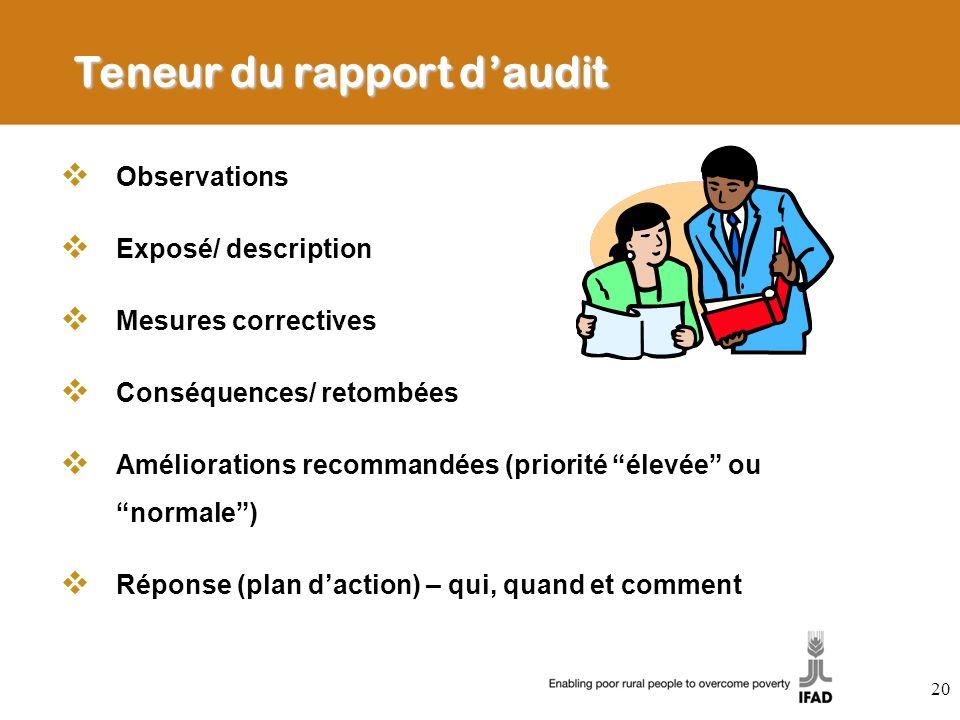 Teneur du rapport daudit Observations Exposé/ description Mesures correctives Conséquences/ retombées Améliorations recommandées (priorité élevée ou n