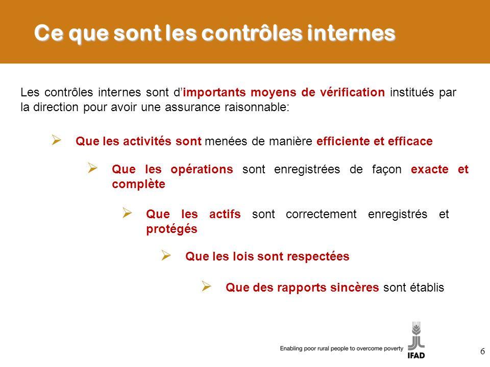 Ce que sont les contrôles internes Les contrôles internes sont dimportants moyens de vérification institués par la direction pour avoir une assurance