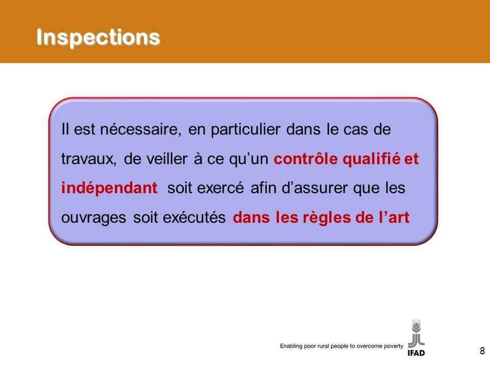 Inspections Il est nécessaire, en particulier dans le cas de travaux, de veiller à ce quun contrôle qualifié et indépendant soit exercé afin dassurer que les ouvrages soit exécutés dans les règles de lart 8
