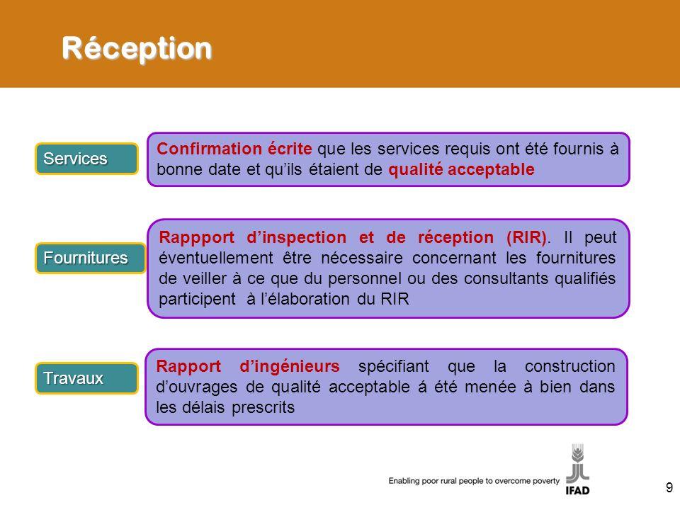 Réception Services Confirmation écrite que les services requis ont été fournis à bonne date et quils étaient de qualité acceptable Fournitures Rappport dinspection et de réception (RIR).