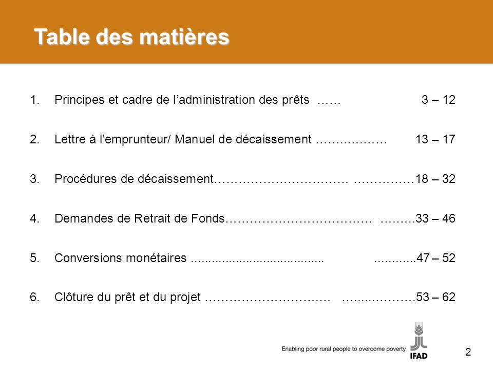 2 Table des matières 1.Principes et cadre de ladministration des prêts ……3 – 12 2.Lettre à lemprunteur/ Manuel de décaissement ……..….……13 – 17 3.Procé
