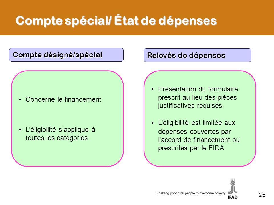 25 Compte spécial/ État de dépenses Compte désigné/spécial Relevés de dépenses Concerne le financement Léligibilité sapplique à toutes les catégories