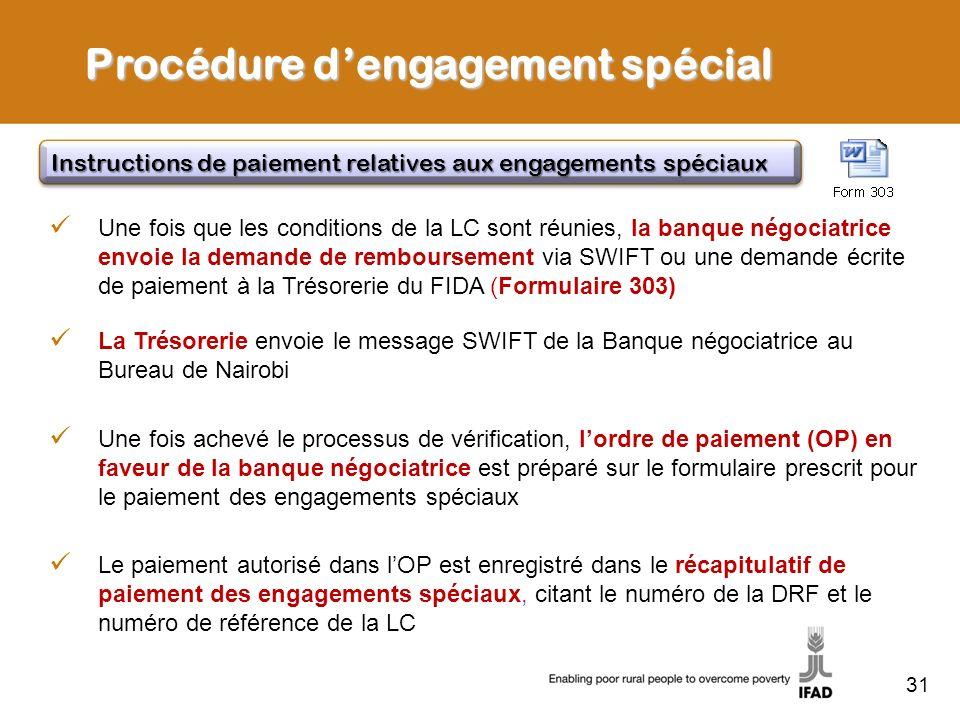 31 Une fois que les conditions de la LC sont réunies, la banque négociatrice envoie la demande de remboursement via SWIFT ou une demande écrite de pai