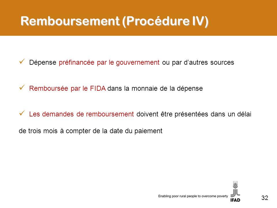 32 Dépense préfinancée par le gouvernement ou par dautres sources Remboursée par le FIDA dans la monnaie de la dépense Les demandes de remboursement d