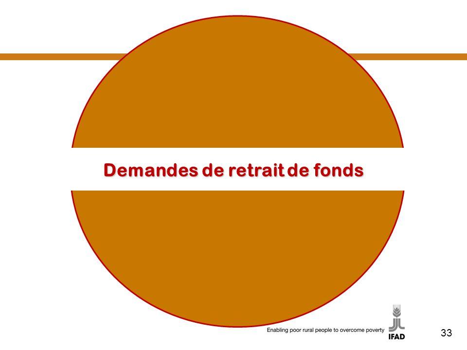 33 Demandes de retrait de fonds