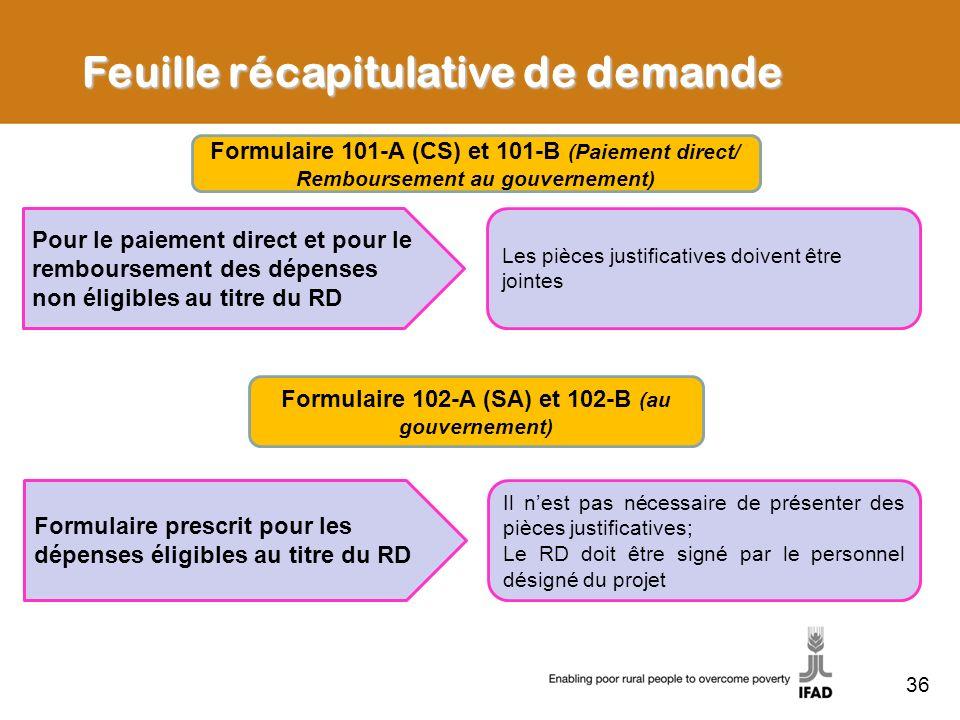 36 Feuille récapitulative de demande Formulaire 101-A (CS) et 101-B (Paiement direct/ Remboursement au gouvernement) Pour le paiement direct et pour l