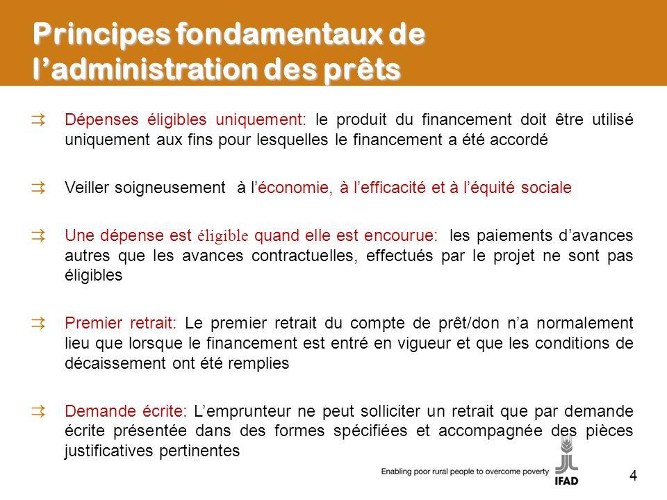 5 Principes fondamentaux de ladministration des prêts Dépenses éligibles: les conditions suivantes doivent être remplies: Encourue par une partie au projet Au cours de la période dexécution du projet Coût raisonnable des biens et services acquis Conformément aux procédures de passation des marchés stipulées à lannexe 4 de lAF/LE Conformément au PTBA approuvé Conformément aux pourcentages indiqués à lannexe 2 de lAF/LE pour les catégories autorisées Non interdites par le CS des Nations Unies aux termes du Chapitre VII de la Charte des Nations Unies Non entachées de pratiques coercitives, collusoires, frauduleuses ou corruptrices Conformément aux documents de laccord de financement Financement rétroactif: Si le financement rétroactif est expressément prévu à lannexe 2 de lAF, les dépenses admissibles effectuées aux fins du projet avant lentrée en vigueur du financement peuvent être remboursées sur le compte de prêt après lentrée en vigueur Lettre à lemprunteur/ Manuel de décaissement: Envoyé par le FIDA au représentant autorisé de lemprunteur, énonçant les dispositions importantes du financement, ainsi que les procédures et les directives concernant les décaissements