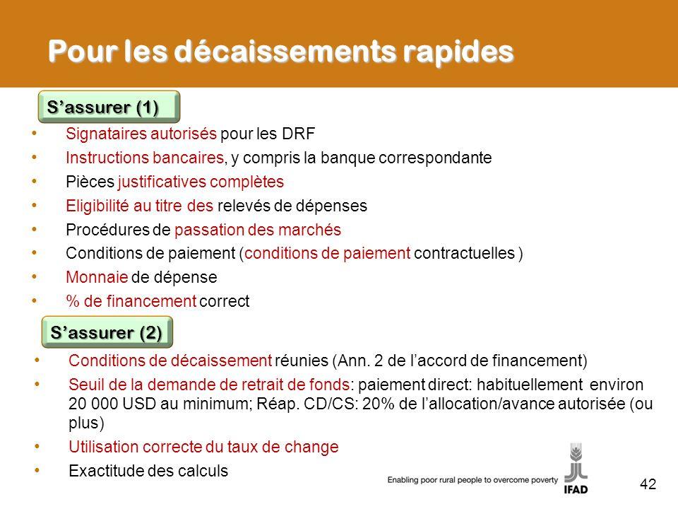 42 Pour les décaissements rapides Signataires autorisés pour les DRF Instructions bancaires, y compris la banque correspondante Pièces justificatives