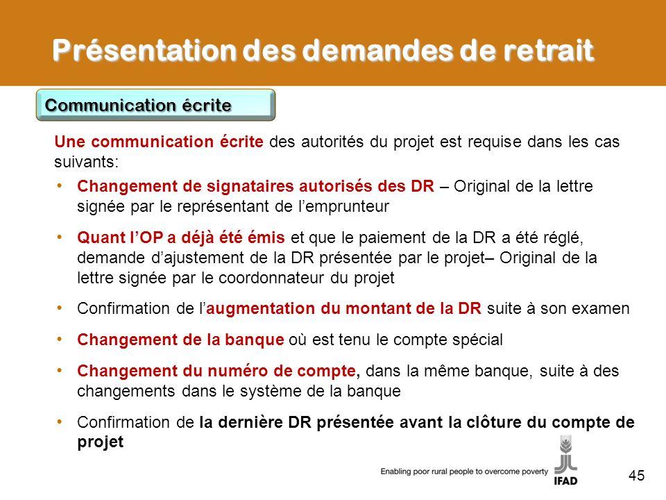 45 Présentation des demandes de retrait Communication écrite Changement de signataires autorisés des DR – Original de la lettre signée par le représen