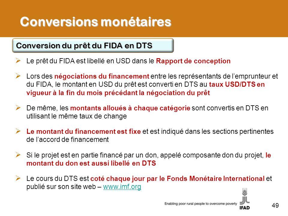 49 Le prêt du FIDA est libellé en USD dans le Rapport de conception Lors des négociations du financement entre les représentants de lemprunteur et du