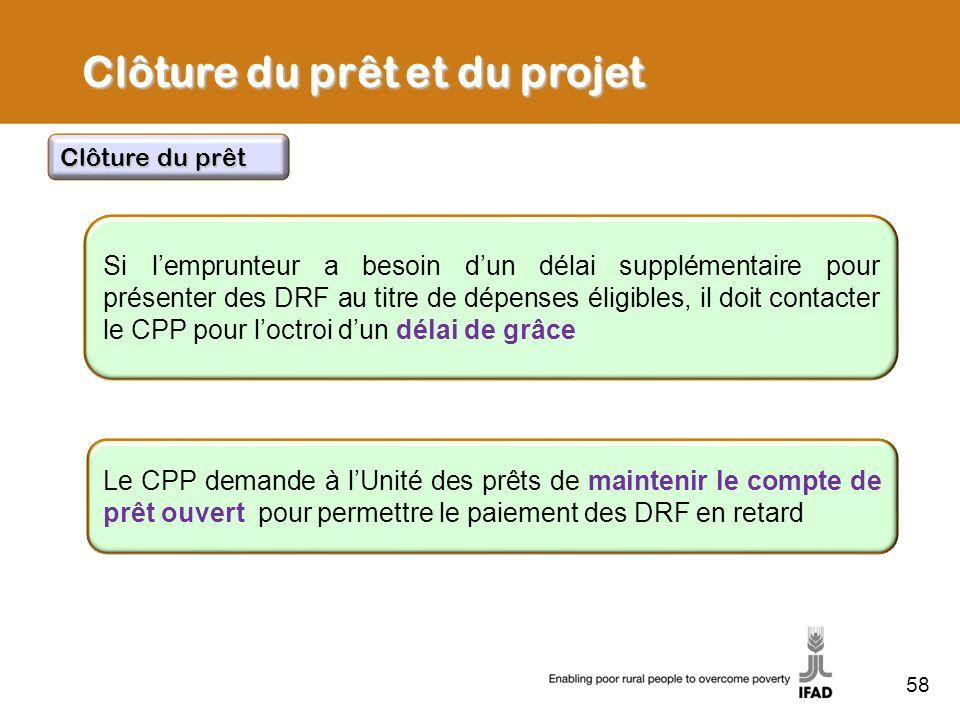 58 Si lemprunteur a besoin dun délai supplémentaire pour présenter des DRF au titre de dépenses éligibles, il doit contacter le CPP pour loctroi dun d