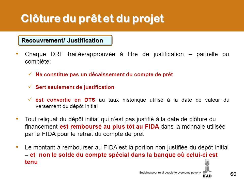 60 Clôture du prêt et du projet Recouvrement/ Justification Chaque DRF traitée/approuvée à titre de justification – partielle ou complète: Ne constitu