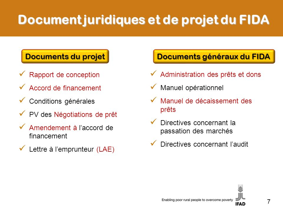 7 Document juridiques et de projet du FIDA Documents du projet Rapport de conception Accord de financement Conditions générales PV des Négotiations de