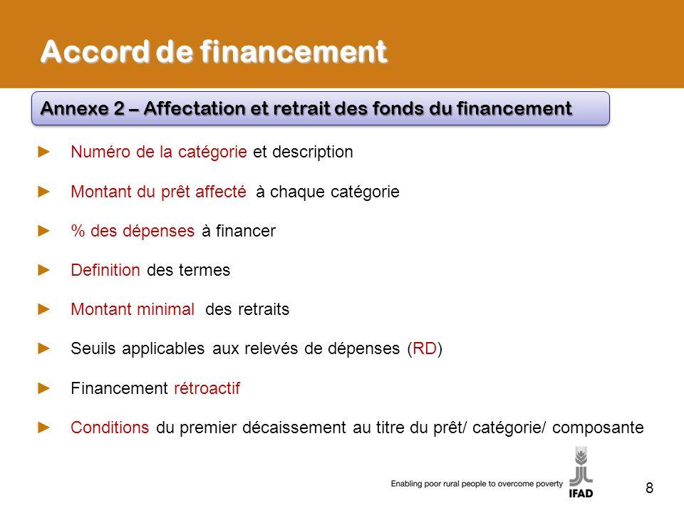 8 Accord de financement Annexe 2 – Affectation et retrait des fonds du financement Numéro de la catégorie et description Montant du prêt affecté à cha