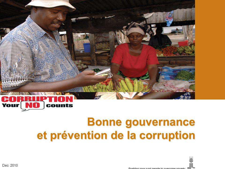 Bonne gouvernance et prévention de la corruption Dec 2010