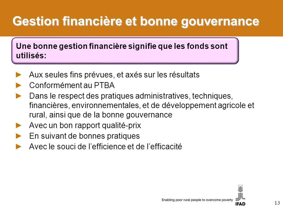 Gestion financière et bonne gouvernance Aux seules fins prévues, et axés sur les résultats Conformément au PTBA Dans le respect des pratiques administ