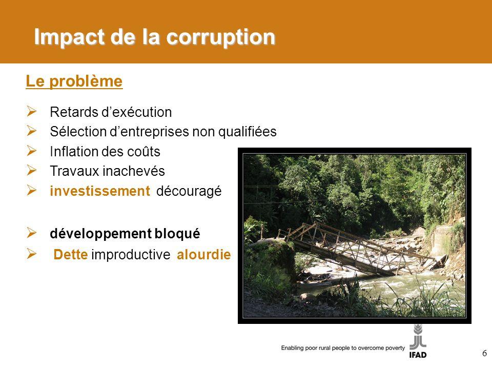 Impact de la corruption 6 Le problème Retards dexécution Sélection dentreprises non qualifiées Inflation des coûts Travaux inachevés investissement dé
